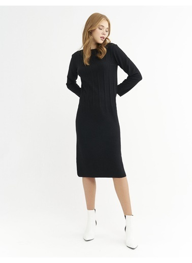 BGN Siyah - Örgü Detaylı Triko Elbise Siyah
